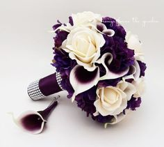 Bridal Bouquet Real Touch Picasso Callas Ivory Roses Purple Hydrangea Real Touch Rose Grooms Boutonniere Purple Plum White Wedding Bouquet - Ivory Real Touch Roses, Picasso Mini Callas, and Purple Real Touch Hydrangea create a beautiful cus - Hydrangea Bouquet Wedding, Purple Wedding Bouquets, Plum Wedding Flowers, Boquet, Ivory Wedding, Plum Wedding Centerpieces, Purple Flower Bouquet, Bling Bouquet, Cascading Bouquets