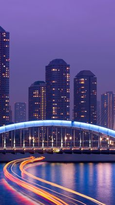 japan, tokyo, the capital, metropolis, skyscrapers, night, bridge, lighting, exposure, lights, river, lilac, sky