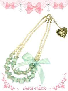 画像1: 【新品】 リボンパールネックレス・ミント (Necklace・,Mint (1)