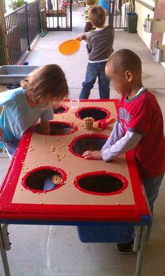 Exploring the Outdoor Classroom: Sensory Bin with a Hole-y Top Sensory Table, Sensory Bins, Sensory Play, Tuff Spot, Eyfs Classroom, Outdoor Classroom, School Classroom, Classroom Ideas, Eyfs Outdoor Area