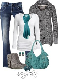 How Cute is this Outfit?  Blue jeans, White top, Gray Sweater & Boots, Turquoise Scarf & Purse!