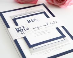 Gorgeous navy blue and gray wedding invitation.  Modern yet so elegant!