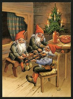 This Pin was discovered by DF FD. Discover (and save!) your own Pins on… Swedish Christmas, Christmas Gnome, Scandinavian Christmas, Christmas Art, Illustration Noel, Christmas Illustration, Vintage Christmas Cards, Christmas Pictures, Trolls