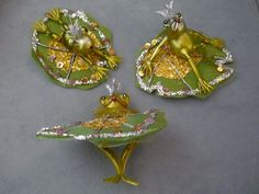 Christmas Ornaments 3 glass frogs on sequin lily pads