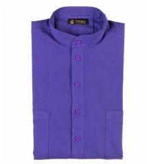 Chemise en laine et coton bleu Klein