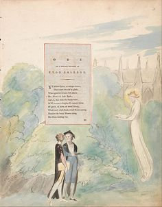 """1797-98.William Blake - The Poems of Thomas Gray, Design 15, """"Ode on a Distant Prospect of Eton College."""" watercolor,pen,black ink and graphite on cream-colored paper (Watercolor with pen and black ink and graphite on moderately thick,moderately textured, cream wove paper). 419х324mm. Yale Center for British Art."""