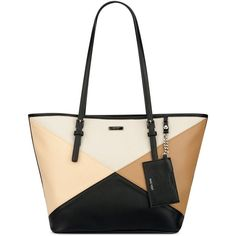 Nine West Ava Tote ($55) ❤ liked on Polyvore featuring bags, handbags, tote bags, white purse, nine west tote, patchwork handbags, nine west purses and nine west tote bags