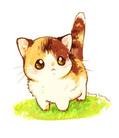 Cute is cute in any language. ♥ (must love cats) cute chibi, kawaii anime, cute Cat Drawing Tumblr, Simple Cat Drawing, Cute Cat Drawing, Kitty Drawing, Drawing Ideas, Cat Drawing Tutorial, Chat Kawaii, Kawaii Cat, Kawaii Anime