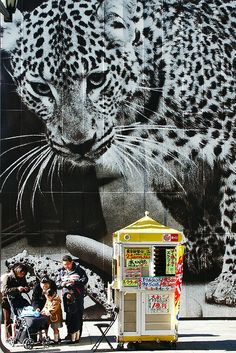 Family in front of a hungry panther, Tokyo, Japan by Eric Lafforgue, via Flickr