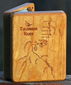 TUCANNON RIVER MAP Fly Box Handcrafted Custom by StoneflyStudio Fish Artwork, Playing Card Box, Map Design, Custom Map, Personalised Box, Groomsman Gifts, Fly Fishing, Laser Engraving, 3 D