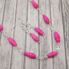 Paper Bead Necklace and Earring Set - Rwandan Paper Beads - Hot Pink