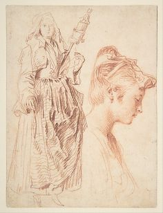 Drawing by Antoine Watteau in the Metropolitan Museum of Art