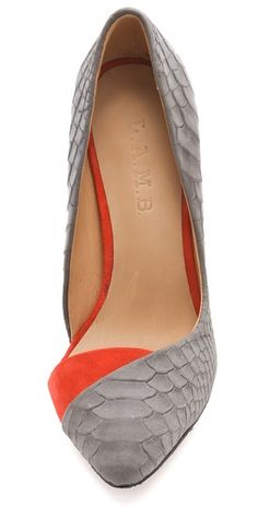 L.A.M.B. Coral/Gray Suede Pumps- HOT! These are just to die for amazing.