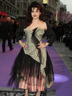 Helena Bonham Carter's candy-striped gown