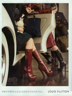 """LOUIS VUITTON """"High-Heel Rubber Rainboots"""" : LOUIS VUITTON """"High-Heel Rubber Rainboots"""" So if you want to be fashionable this fall (and next spring), you must own at least a pair of Louis Vuitton high heeled rubber boots as shown in the Fall Winter 2011 2012 collection and modeled in the latest W Magazine by the beautiful Karen Elson! (yes, Louis Vuitton Wellies, hard to stomach, eh?) Take a look below and tell me you don't want a pair and I simply won't ..."""