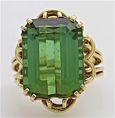 A Large Vintage 1940's Step Cut Tourmaline and 14KT Gold Ladies Ring