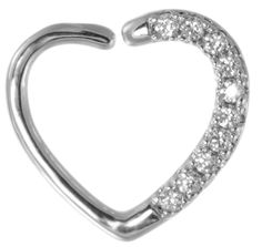 Our 16 gauge Daith Heart Piercing with tiny clear jewels is available in silver or gold color! #DaithPiercing http://www.body-jewelry-shop.com/Jeweled-Daith-Heart-Piercing-Hoop-16-gauge-Body-Piercing-Jewelry.html