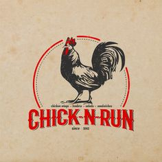 Chick-N-Run - Create a vintage logo for a small town chicken restaurant We are a small take out and dine in restaurant. Serve chicken wings, tenders, salads and sandwiches. Chicken Brands, Chicken Logo, Chicken Shop, Chicken Rice, Fried Chicken, Chicken Wings, Chicken Restaurant Logos, Restaurant Logo Design, Brand Identity Design