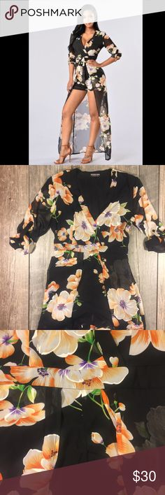 Black floral maxi romper Black floral maxi romper. Cuffed sleeves. Zipper on the side. 28 inches from shoulder to short hem. 1 1/2 inch inseam. 58 inches at longest. Slip attached. Cotton. Waist is approx 29 inches. Armpit to armpit in back is approx 18 inches. Tag reads size large Fashion Nova Pants Jumpsuits & Rompers