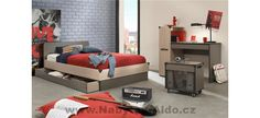 Buy Gami Jimi Oak and Grey Bed online by Gami from CFS UK at unbeatable price. Beds For Sale, Grey Bedding, Double Beds, King Beds, Red And Grey, Couch, Bedroom, Storage, Furniture