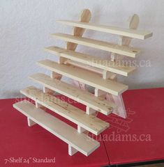 Wide collapsible riser portable display stand store countertop display craft show display shelf trade show liquid dish soap disp. Wooden Display Stand, Soap Display, Table Top Display, Display Stands, Craft Fair Displays, Market Displays, Plant Shelves, Display Shelves, Portable Display