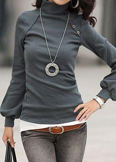 High Neck Grey Lantern Sleeve Blouse on sale at Rosewe.com