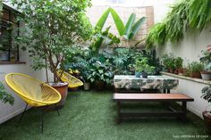 Apartamento no centro de São Paulo com jardim. Destaque para folhagem tropical, poltronas Acapulco e mesa de madeira. Porch And Terrace, Patio Gazebo, Backyard Patio, Backyard Landscaping, Small Backyard Gardens, Backyard Garden Design, Rooftop Garden, Patio Design, Garden Seating