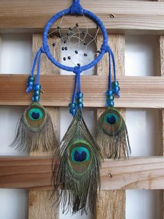 Navy Blue Dream Catcher with Peacock Eye by FeathersandSinew, $15.00