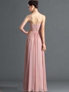V-neck A-line Ruffles Floor-length Chiffon Prom Dress