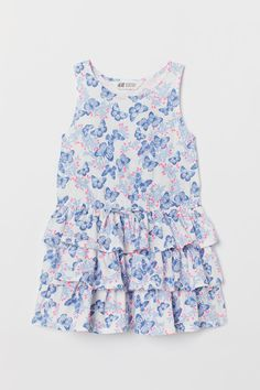 dac5646627e14c Tricot jurk met volants - Wit vlinders - KINDEREN