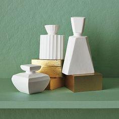 White ceramic perfume bottles