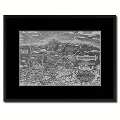 Germany Bavaria Old Monochrome Map 40016 Print on Canvas with Picture Frame Urban Vintage Wall Home Décor Interior Gift Ideas - Black 16' x 21' * You can find out more details at the link of the image-affiliate link. #PictureFrames
