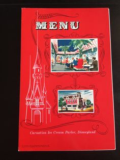 Disneyland Carnation Ice Cream Parlor Menu by VintageDisneyana on Etsy