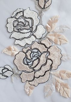 Hand Embroidered Motif Beaded rose appliqué with sumptuous image 2 Tambour Embroidery, Bead Embroidery Patterns, Hand Embroidery Flowers, Couture Embroidery, Silk Ribbon Embroidery, Embroidery Fashion, Hand Embroidery Designs, Embroidery Stitches, Motifs Roses