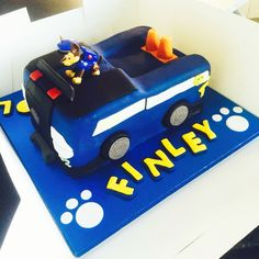 Paw patrol chase truck birthday cake.  I made this cake for my two year old grandson Finley.