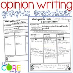 Use graphic organizers to increase probability certain elements will carry into student writing. This is a 4th grader's organizer for opinion writing on traits that made George Washington a great U.S. president.