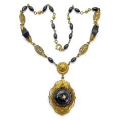 Vintage Art Deco Victorian Revival Czech Black Glass Rose Glass Bead Necklace | Clarice Jewellery | Vintage Costume Jewellery