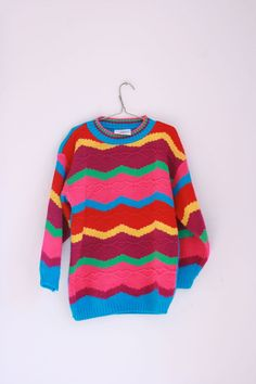 Vintage girls sweater eighties brights size 8/10 by fuzzymama, $12.00