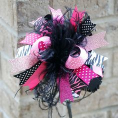 boutique HOT PINK and ZEBRA over the top bow with от andJane