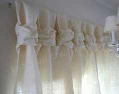 Burlap  Curtain - White Burlap - Wide Ruched Tabs