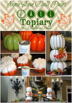 Paint inexpensive Walmart pumpkins with chalk paint to create a stacked topiary via Our Southern Home