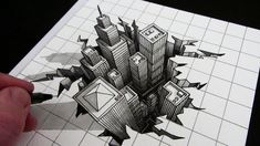 Drawings Learn how to draw a hole in a piece of paper, an optical illusion with buildings, in this narrated art tutorial drawing of an anamorphic hole in a piec. 3d Art Drawing, City Drawing, Art Drawings Sketches, Easy Drawings, Drawing Step, Drawing Ideas, Optical Illusions Drawings, Illusion Drawings, How To Draw Illusions