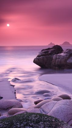 Rock Beach Cool Sunset, HD Nature Wallpapers Photos and Pictures