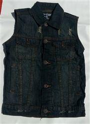 Kids dark wash denim motorcycle vest with collar only $24.99