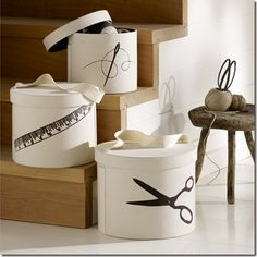 old hat boxes stenciled -try to find kitchen utensils or cooking stencils