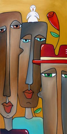 A-BIRD-ON-THE-HEAD-Original-Abstract-Modern-Faces-Art-Painting-by-Fidostudio