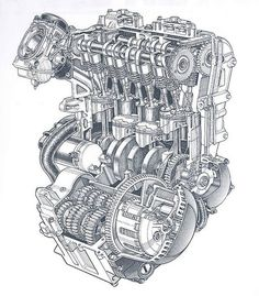 Motorcycle Engine, Motorcycle Art, Car Engine, Motor Engine, Kawasaki Ninja 600, Technical Illustration, Technical Drawings, Japanese Motorcycle, Garage Art