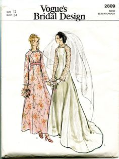 Find everything but the ordinary Vogue Wedding Dress Patterns, Vogue Dress Patterns, Vintage Dress Patterns, Vintage Sewing, Fashion Patterns, Clothes Patterns, Wedding Dress Sketches, Designer Wedding Dresses, Patterned Bridesmaid Dresses
