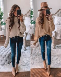 Trendy Fall Outfits, Winter Outfits Women, Warm Outfits, Casual Winter Outfits, Winter Fashion Outfits, Feminine Fall Outfits, Fashion Ideas, Autumn Casual, Sweater Outfits