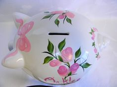 Items similar to Pink roses piggy bank, large piggy bank,ceramic piggy bank,baby shower gift, nursery decor on Etsy Girl Gifts, Baby Gifts, Large Piggy Bank, Donna Dewberry Painting, Personalized Piggy Bank, Welcome Home Baby, Unique Baby Shower Gifts, Pink Butterfly, Beautiful Roses
